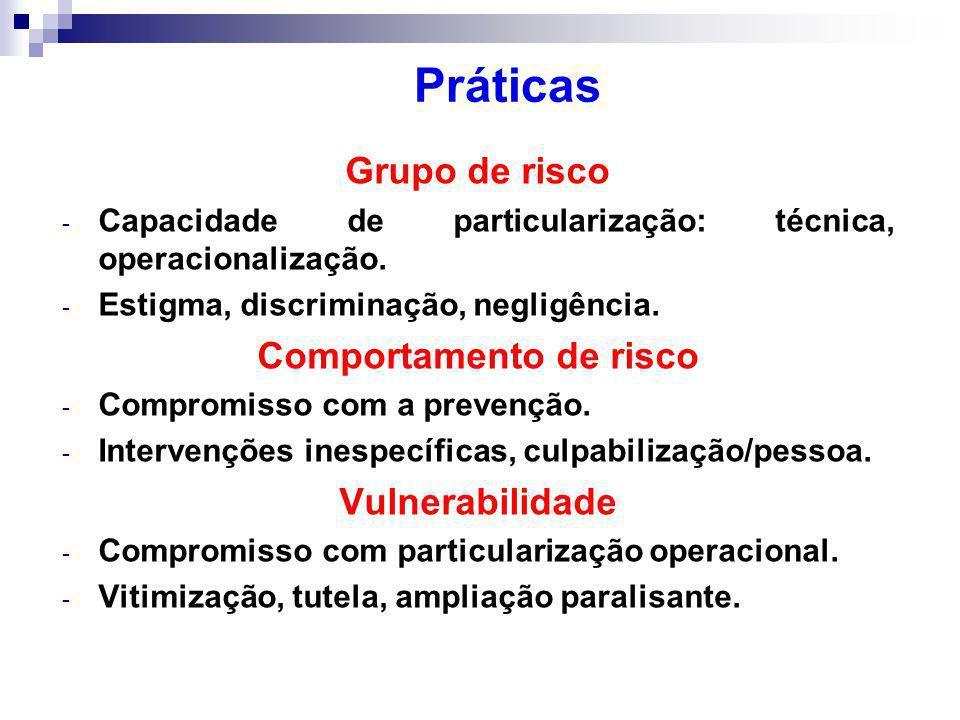 Grupo de risco - Capacidade de particularização: técnica, operacionalização.