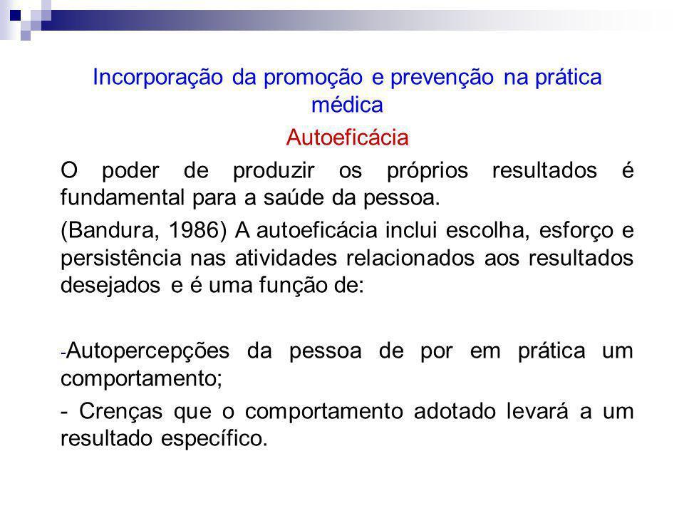 Incorporação da promoção e prevenção na prática médica Autoeficácia O poder de produzir os próprios resultados é fundamental para a saúde da pessoa.