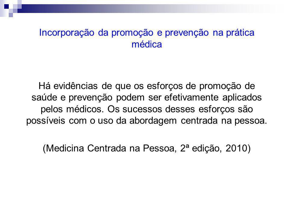 Incorporação da promoção e prevenção na prática médica Há evidências de que os esforços de promoção de saúde e prevenção podem ser efetivamente aplicados pelos médicos.