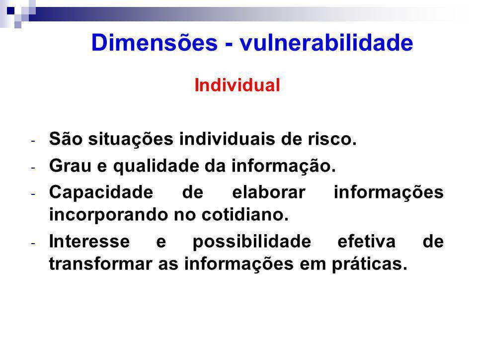 Individual - São situações individuais de risco.- Grau e qualidade da informação.