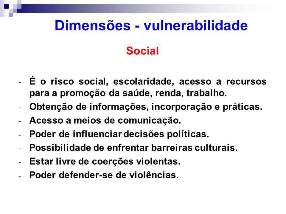 Social - É o risco social, escolaridade, acesso a recursos para a promoção da saúde, renda, trabalho.