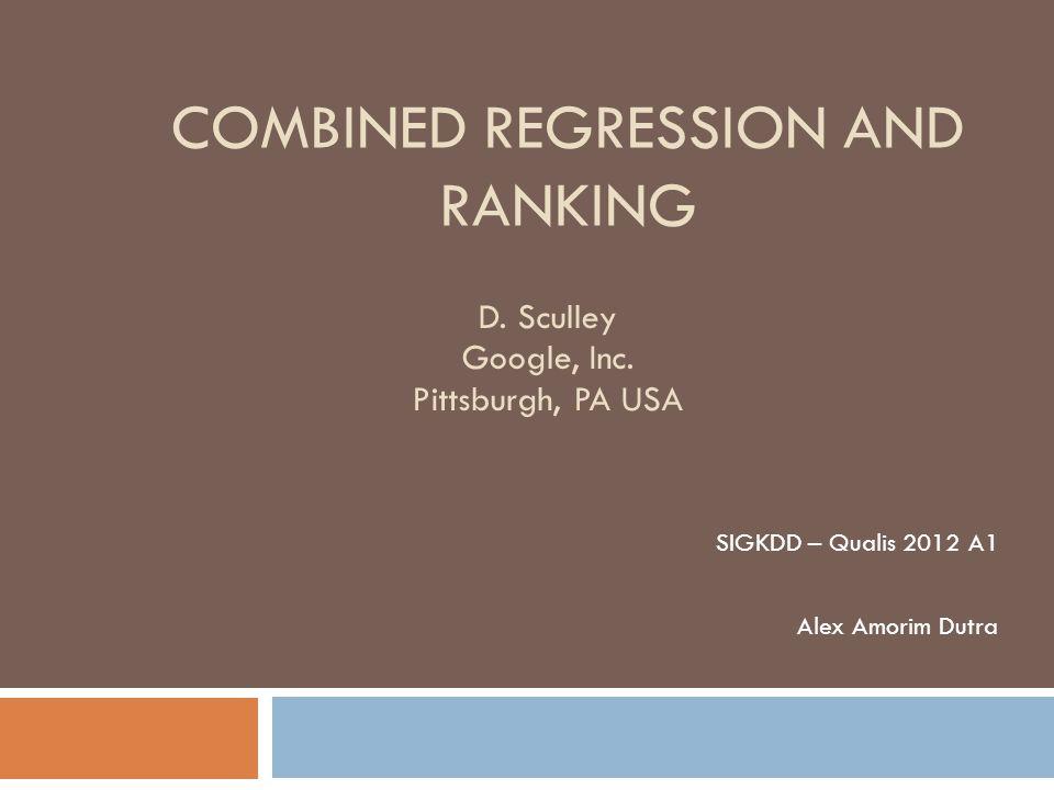 Sumário Introdução CRR Regressão Classificação Classificação X Regressão Funções de Perda Algoritmo Métricas Resultados Conclusões