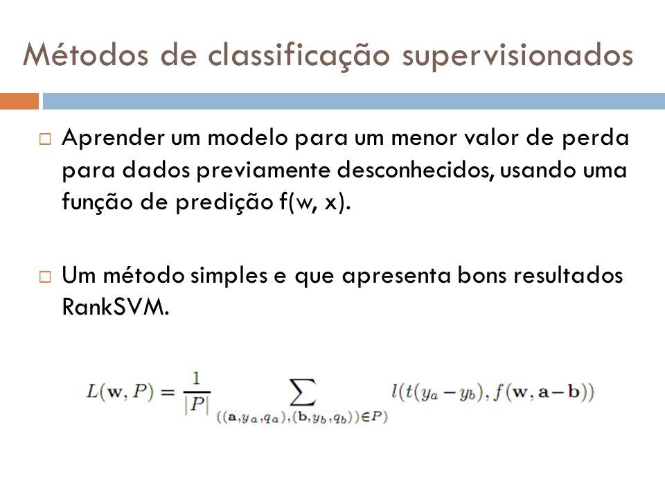 Métodos de classificação supervisionados Aprender um modelo para um menor valor de perda para dados previamente desconhecidos, usando uma função de pr