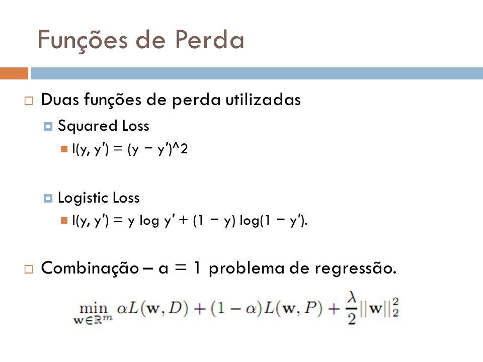Funções de Perda Duas funções de perda utilizadas Squared Loss l(y, y ) = (y y )^2 Logistic Loss l(y, y ) = y log y + (1 y) log(1 y ). Combinação – a