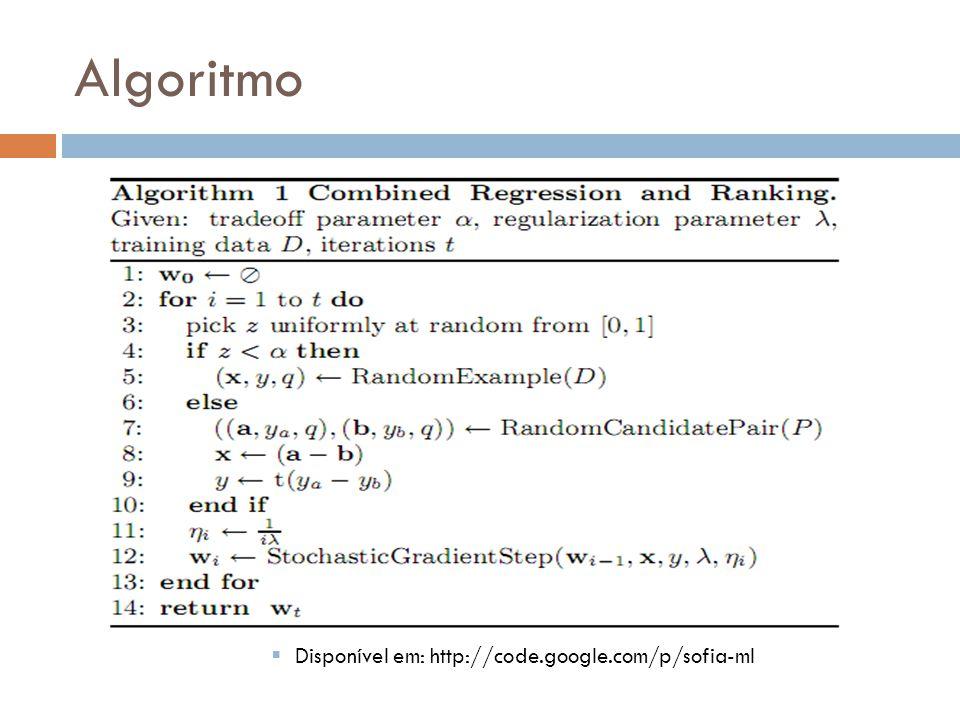 Algoritmo Disponível em: http://code.google.com/p/sofia-ml