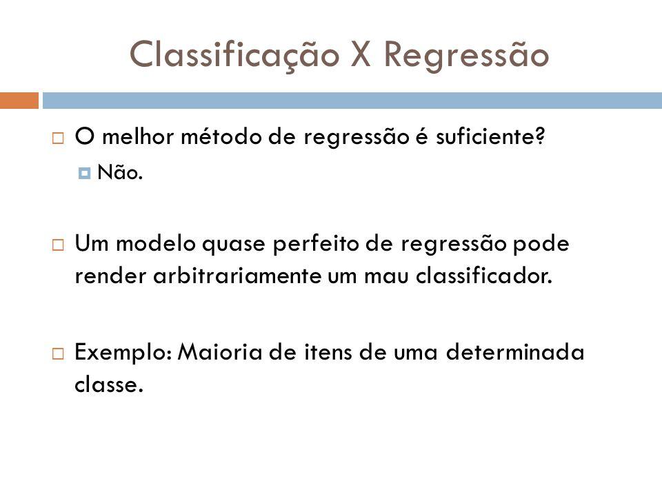 Classificação X Regressão O melhor método de regressão é suficiente? Não. Um modelo quase perfeito de regressão pode render arbitrariamente um mau cla