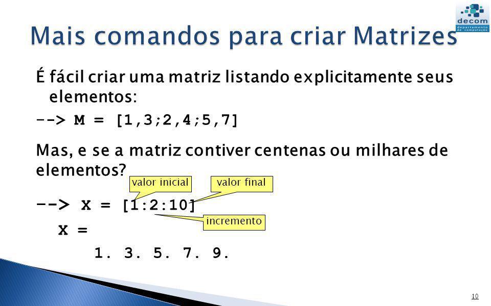 É fácil criar uma matriz listando explicitamente seus elementos: - -> M = [1,3;2,4;5,7] Mas, e se a matriz contiver centenas ou milhares de elementos?
