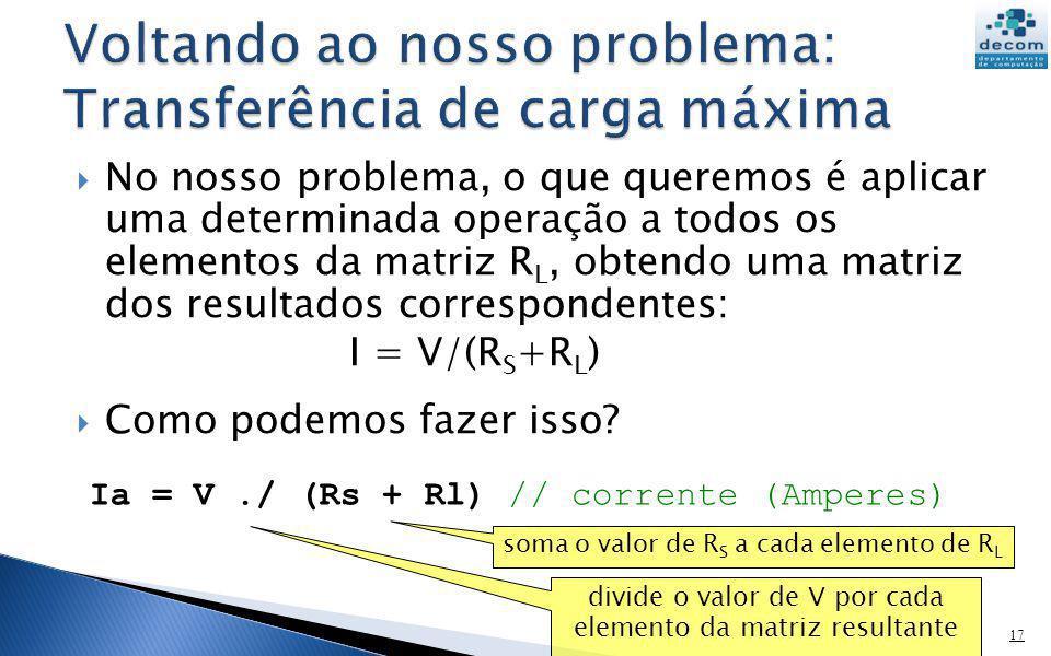 No nosso problema, o que queremos é aplicar uma determinada operação a todos os elementos da matriz R L, obtendo uma matriz dos resultados corresponde