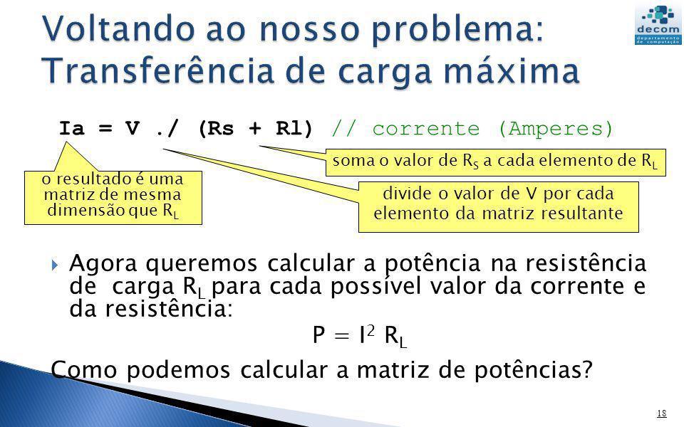 Agora queremos calcular a potência na resistência de carga R L para cada possível valor da corrente e da resistência: P = I 2 R L Como podemos calcula