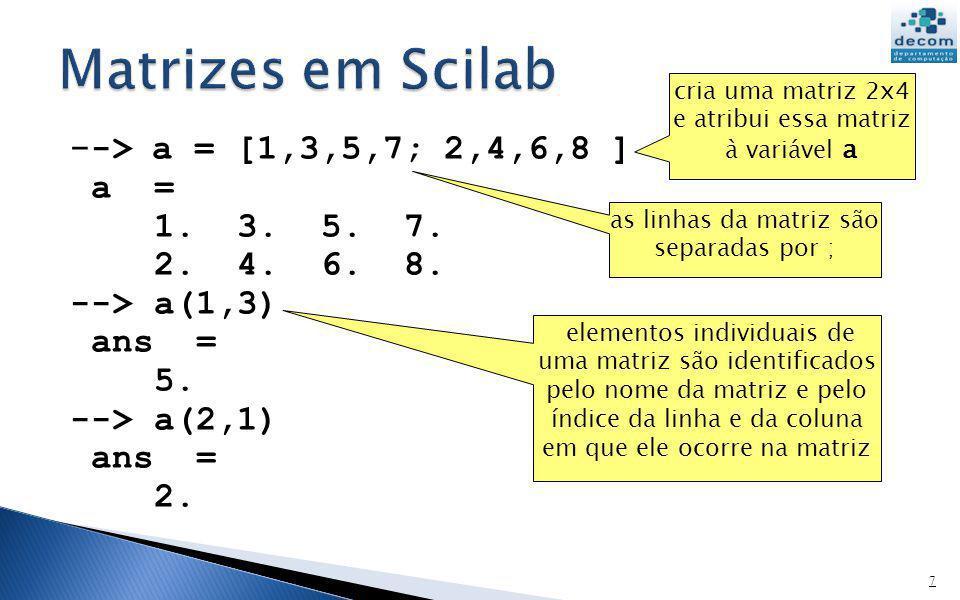 - -> a = [1,3,5,7; 2,4,6,8 ] a = 1. 3. 5. 7. 2. 4. 6. 8. --> a(1,3) ans = 5. --> a(2,1) ans = 2. 7 cria uma matriz 2x4 e atribui essa matriz à variáve