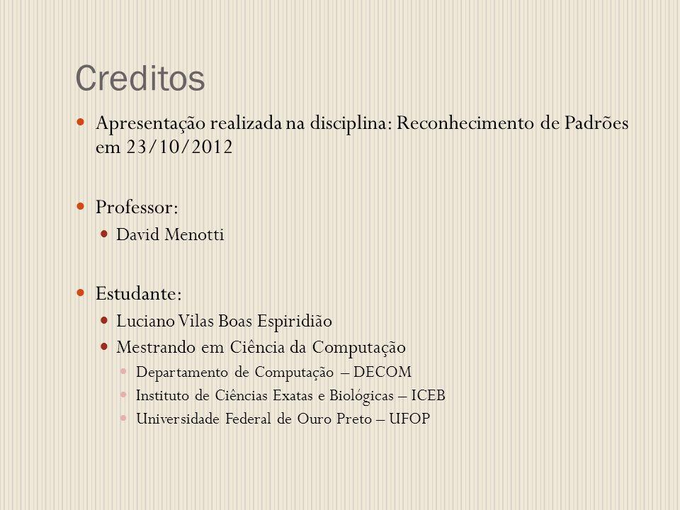 Creditos Apresentação realizada na disciplina: Reconhecimento de Padrões em 23/10/2012 Professor: David Menotti Estudante: Luciano Vilas Boas Espiridi