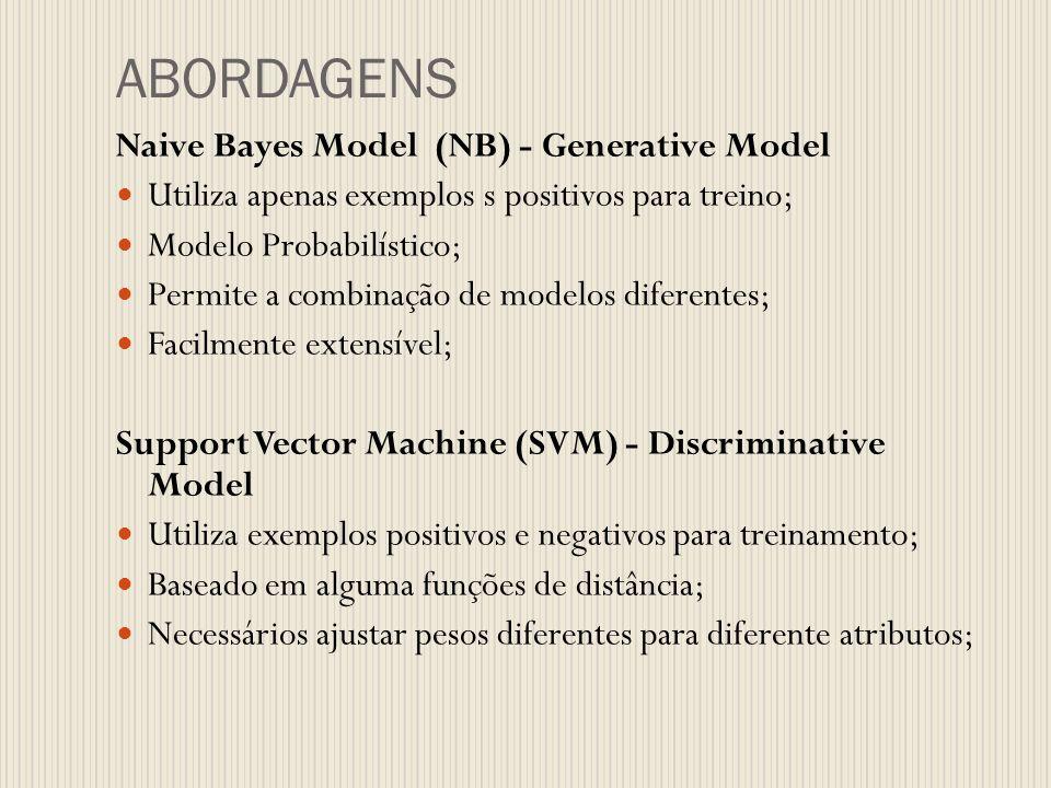 ABORDAGENS Naive Bayes Model (NB) - Generative Model Utiliza apenas exemplos s positivos para treino; Modelo Probabilístico; Permite a combinação de m