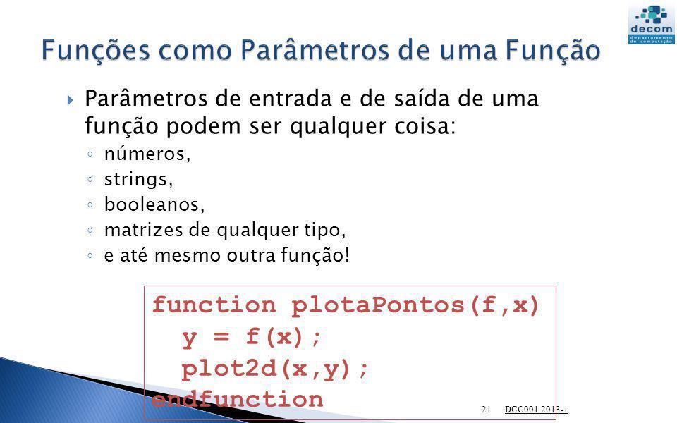 Parâmetros de entrada e de saída de uma função podem ser qualquer coisa: números, strings, booleanos, matrizes de qualquer tipo, e até mesmo outra fun