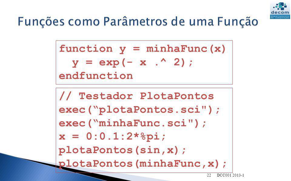 22 function y = minhaFunc(x) y = exp(- x.^ 2); endfunction // Testador PlotaPontos exec(plotaPontos.sci