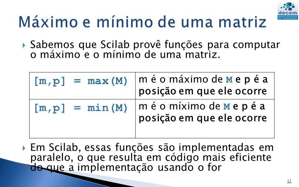 Sabemos que Scilab provê funções para computar o máximo e o mínimo de uma matriz. Em Scilab, essas funções são implementadas em paralelo, o que result