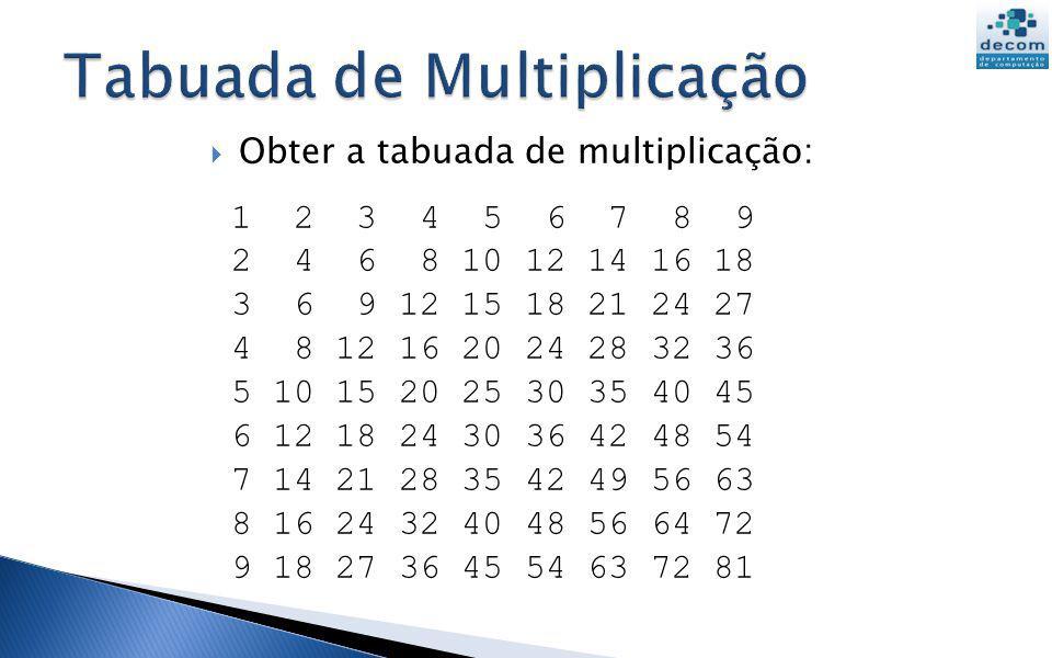 Obter a tabuada de multiplicação: 1 2 3 4 5 6 7 8 9 2 4 6 8 10 12 14 16 18 3 6 9 12 15 18 21 24 27 4 8 12 16 20 24 28 32 36 5 10 15 20 25 30 35 40 45