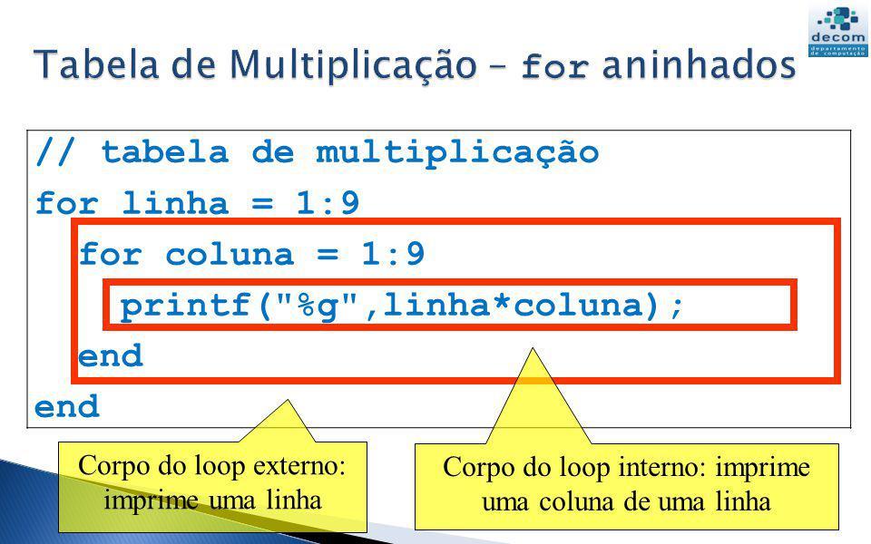 // tabela de multiplicação for linha = 1:9 for coluna = 1:9 printf(