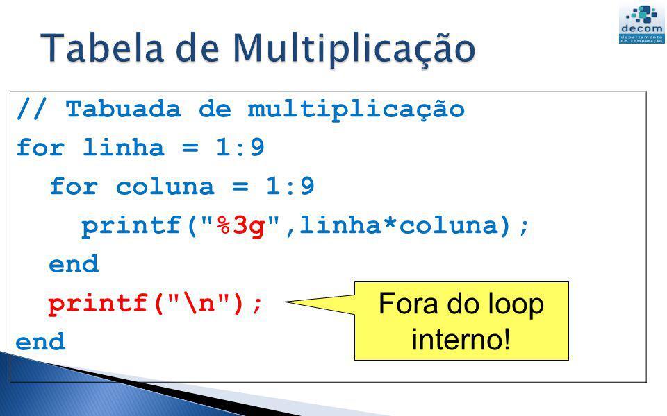 // Tabuada de multiplicação for linha = 1:9 for coluna = 1:9 printf(