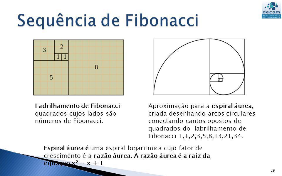 29 Ladrilhamento de Fibonacci: quadrados cujos lados são números de Fibonacci. Aproximação para a espiral áurea, criada desenhando arcos circulares co