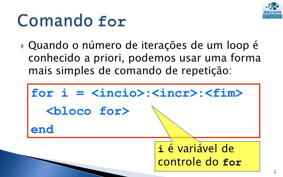 Quando o número de iterações de um loop é conhecido a priori, podemos usar uma forma mais simples de comando de repetição: 5 for i = : : end i é variá