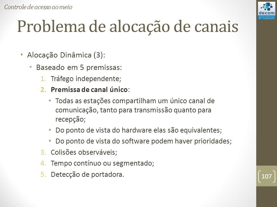 Problema de alocação de canais Alocação Dinâmica (3): Baseado em 5 premissas: 1.Tráfego independente; 2.Premissa de canal único: Todas as estações com