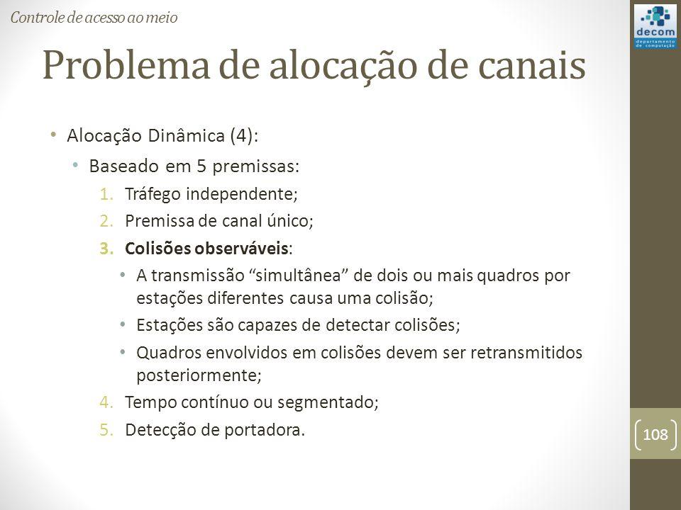 Problema de alocação de canais Alocação Dinâmica (4): Baseado em 5 premissas: 1.Tráfego independente; 2.Premissa de canal único; 3.Colisões observávei