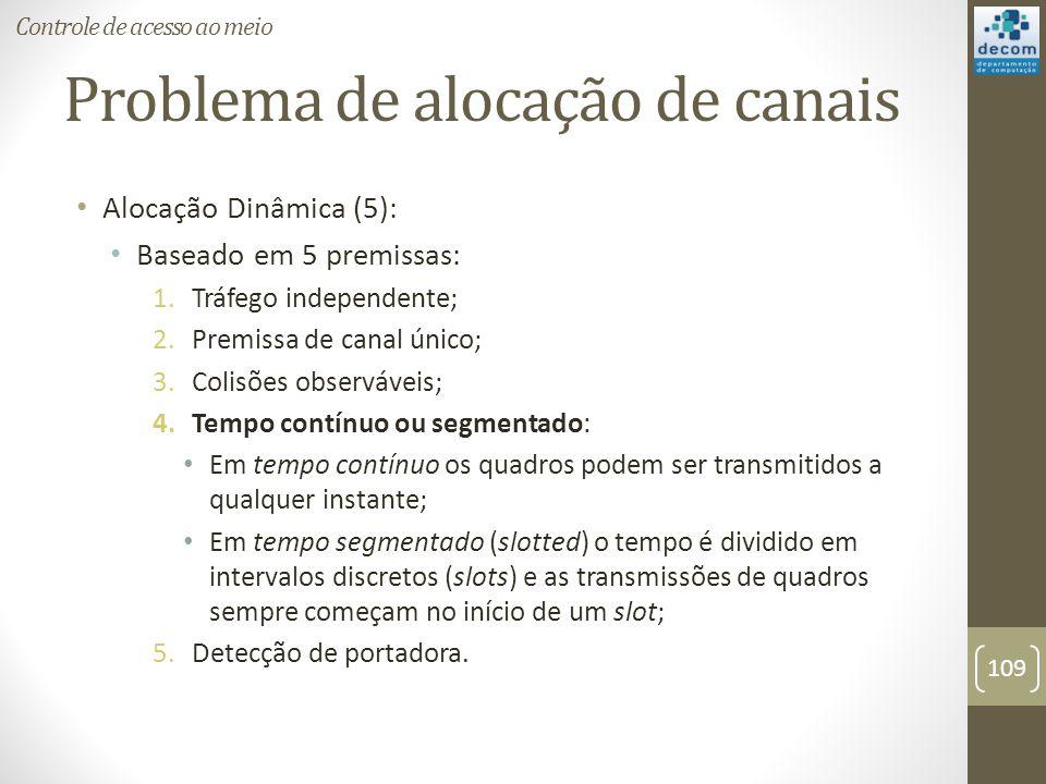 Problema de alocação de canais Alocação Dinâmica (5): Baseado em 5 premissas: 1.Tráfego independente; 2.Premissa de canal único; 3.Colisões observávei