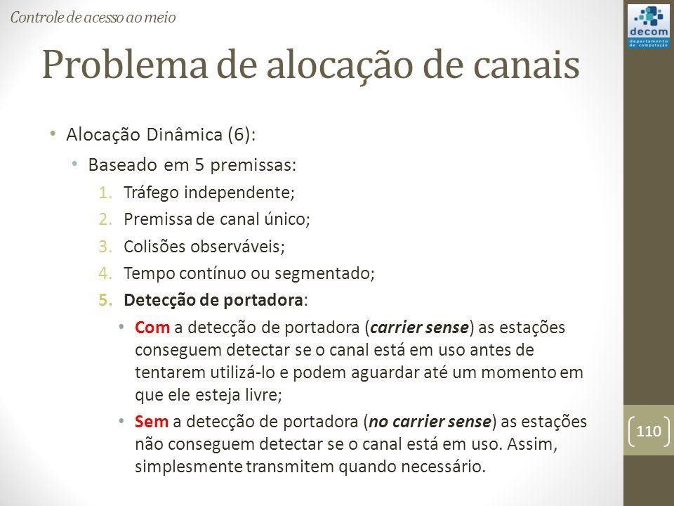 Problema de alocação de canais Alocação Dinâmica (6): Baseado em 5 premissas: 1.Tráfego independente; 2.Premissa de canal único; 3.Colisões observávei