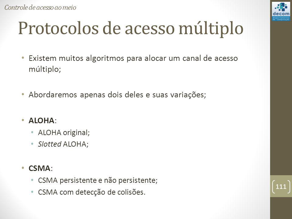 Protocolos de acesso múltiplo Existem muitos algoritmos para alocar um canal de acesso múltiplo; Abordaremos apenas dois deles e suas variações; ALOHA