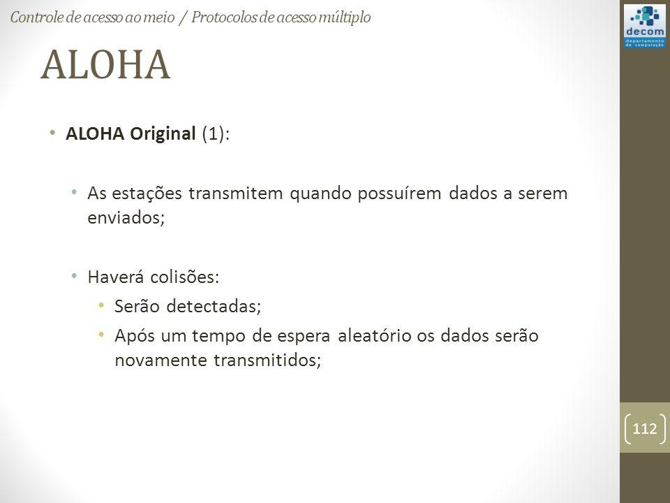 ALOHA ALOHA Original (1): As estações transmitem quando possuírem dados a serem enviados; Haverá colisões: Serão detectadas; Após um tempo de espera a