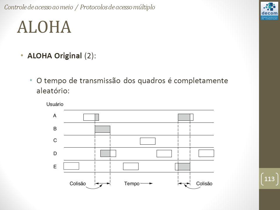 ALOHA ALOHA Original (2): O tempo de transmissão dos quadros é completamente aleatório: Controle de acesso ao meio / Protocolos de acesso múltiplo 113