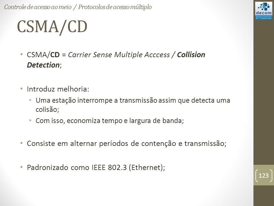 CSMA/CD CSMA/CD = Carrier Sense Multiple Acccess / Collision Detection; Introduz melhoria: Uma estação interrompe a transmissão assim que detecta uma