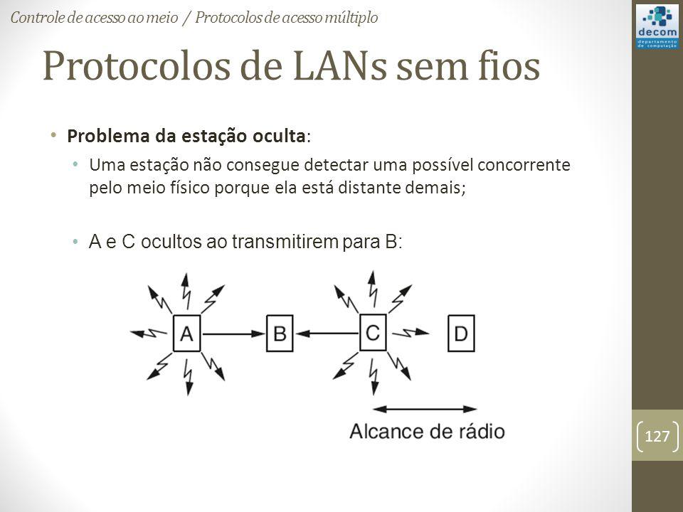 Protocolos de LANs sem fios Problema da estação oculta: Uma estação não consegue detectar uma possível concorrente pelo meio físico porque ela está di