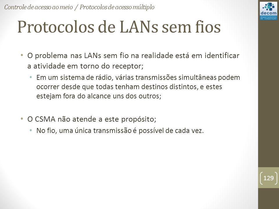 Protocolos de LANs sem fios O problema nas LANs sem fio na realidade está em identificar a atividade em torno do receptor; Em um sistema de rádio, vár