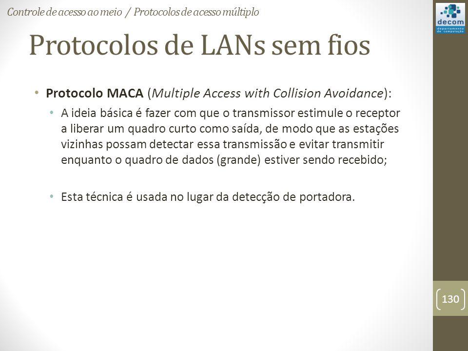 Protocolos de LANs sem fios Protocolo MACA (Multiple Access with Collision Avoidance): A ideia básica é fazer com que o transmissor estimule o recepto