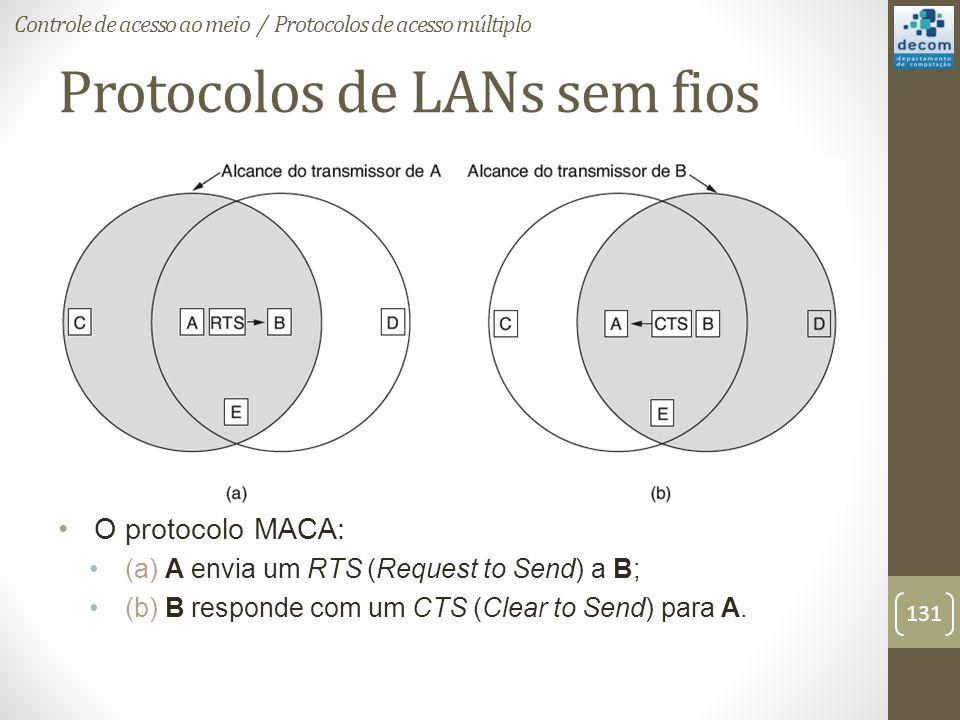 Protocolos de LANs sem fios O protocolo MACA: (a) A envia um RTS (Request to Send) a B; (b) B responde com um CTS (Clear to Send) para A. Controle de