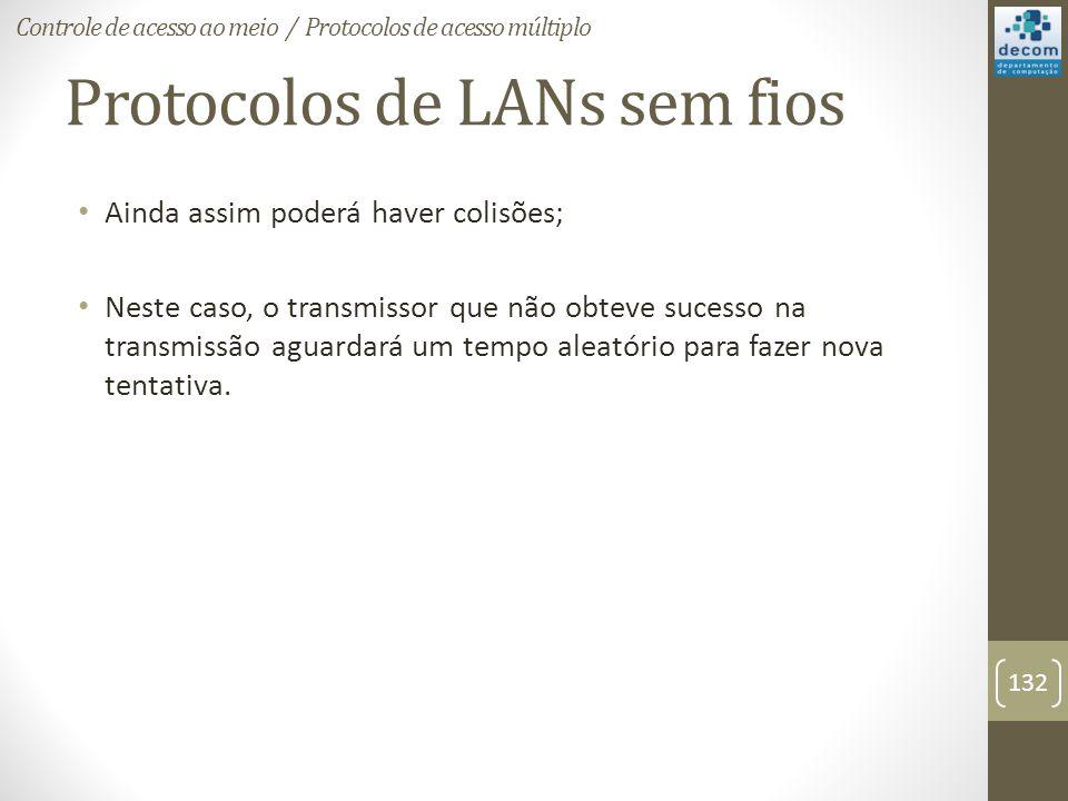 Protocolos de LANs sem fios Ainda assim poderá haver colisões; Neste caso, o transmissor que não obteve sucesso na transmissão aguardará um tempo alea