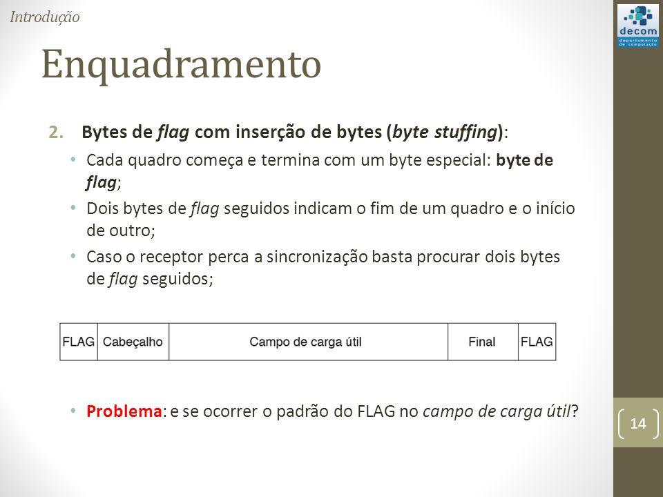 Enquadramento 2.Bytes de flag com inserção de bytes (byte stuffing): Cada quadro começa e termina com um byte especial: byte de flag; Dois bytes de fl