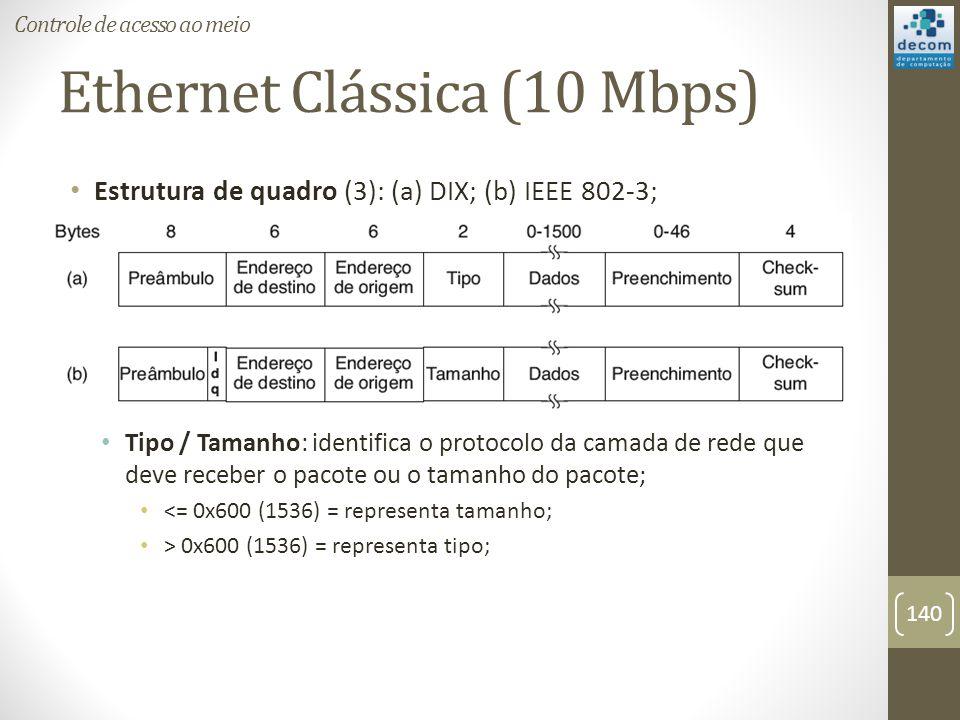 Ethernet Clássica (10 Mbps) Estrutura de quadro (3): (a) DIX; (b) IEEE 802-3; Tipo / Tamanho: identifica o protocolo da camada de rede que deve recebe