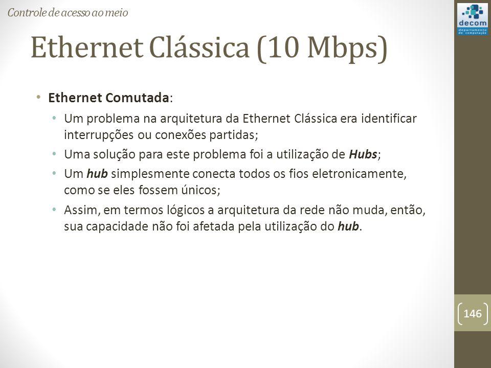 Ethernet Clássica (10 Mbps) Ethernet Comutada: Um problema na arquitetura da Ethernet Clássica era identificar interrupções ou conexões partidas; Uma