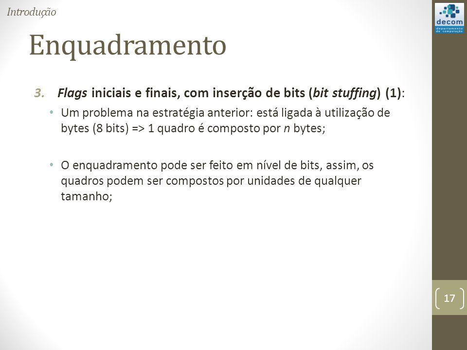 Enquadramento 3.Flags iniciais e finais, com inserção de bits (bit stuffing) (1): Um problema na estratégia anterior: está ligada à utilização de byte
