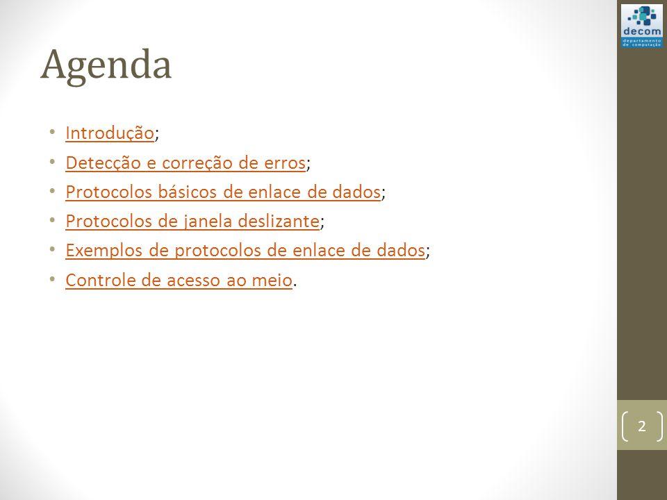 Agenda Introdução; Introdução Detecção e correção de erros; Detecção e correção de erros Protocolos básicos de enlace de dados; Protocolos básicos de