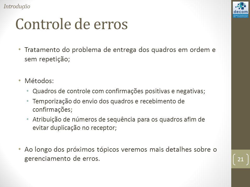 Controle de erros Tratamento do problema de entrega dos quadros em ordem e sem repetição; Métodos: Quadros de controle com confirmações positivas e ne