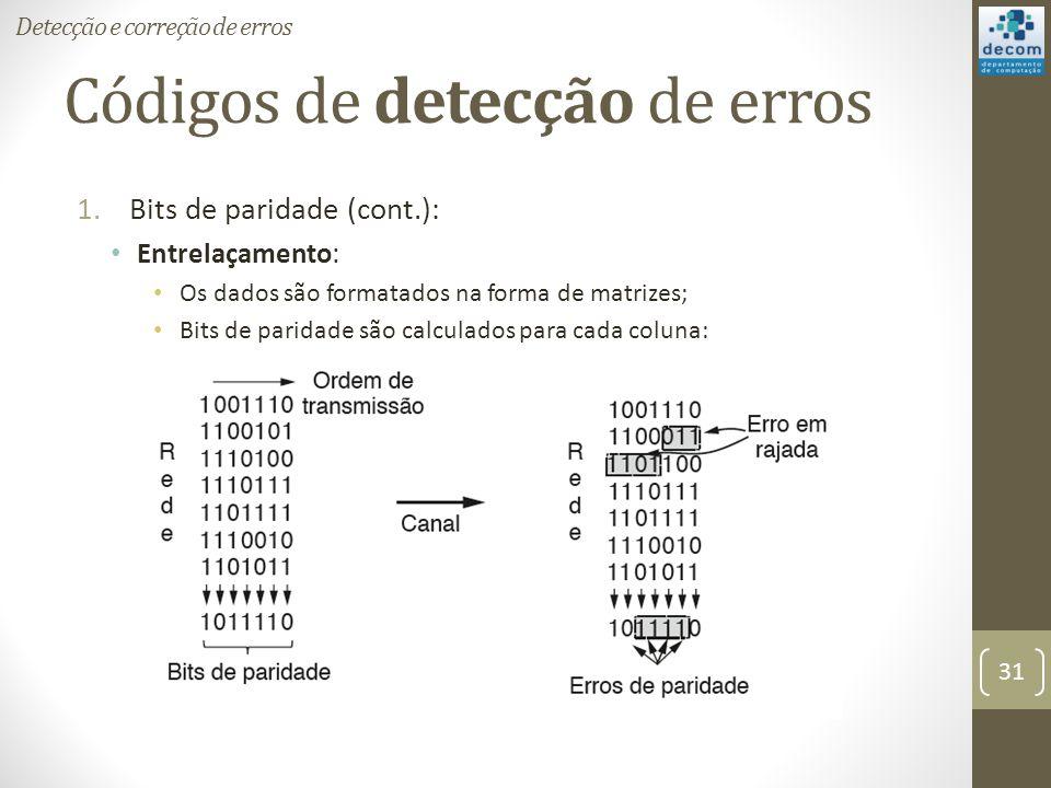 Códigos de detecção de erros 1.Bits de paridade (cont.): Entrelaçamento: Os dados são formatados na forma de matrizes; Bits de paridade são calculados