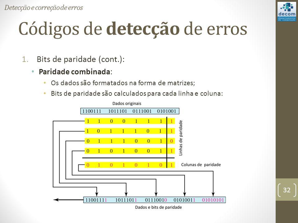 Códigos de detecção de erros 1.Bits de paridade (cont.): Paridade combinada: Os dados são formatados na forma de matrizes; Bits de paridade são calcul