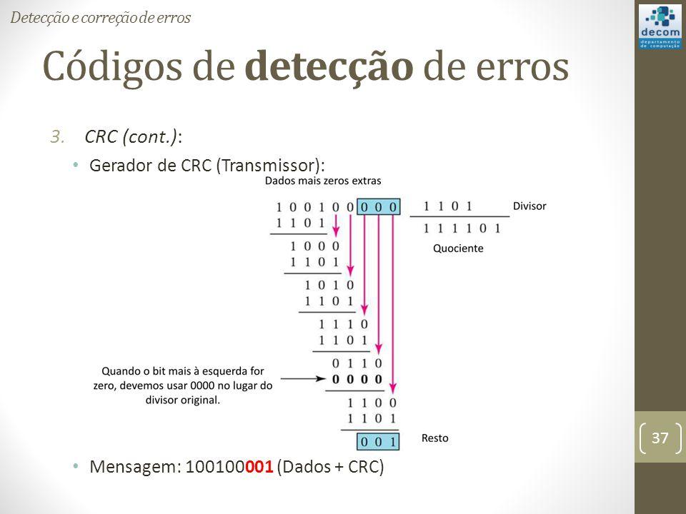 Códigos de detecção de erros 3.CRC (cont.): Gerador de CRC (Transmissor): Mensagem: 100100001 (Dados + CRC) Detecção e correção de erros 37
