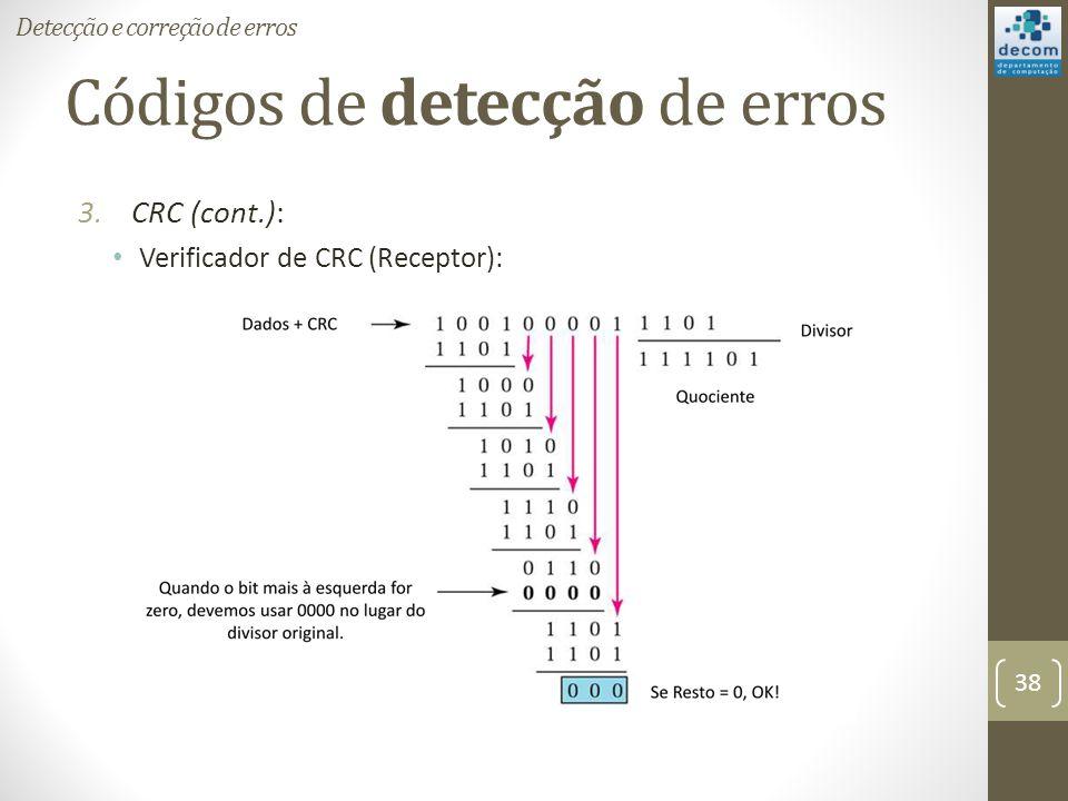 Códigos de detecção de erros 3.CRC (cont.): Verificador de CRC (Receptor): Detecção e correção de erros 38