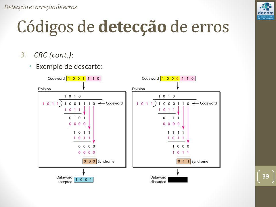 Códigos de detecção de erros 3.CRC (cont.): Exemplo de descarte: Detecção e correção de erros 39
