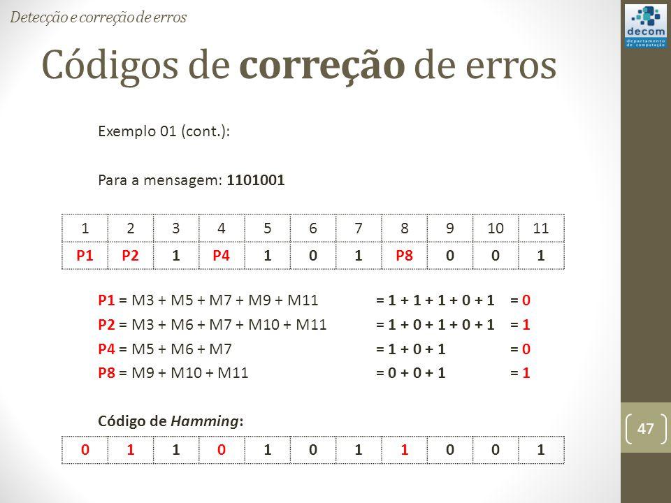Códigos de correção de erros Exemplo 01 (cont.): Para a mensagem: 1101001 P1 = M3 + M5 + M7 + M9 + M11 = 1 + 1 + 1 + 0 + 1 = 0 P2 = M3 + M6 + M7 + M10