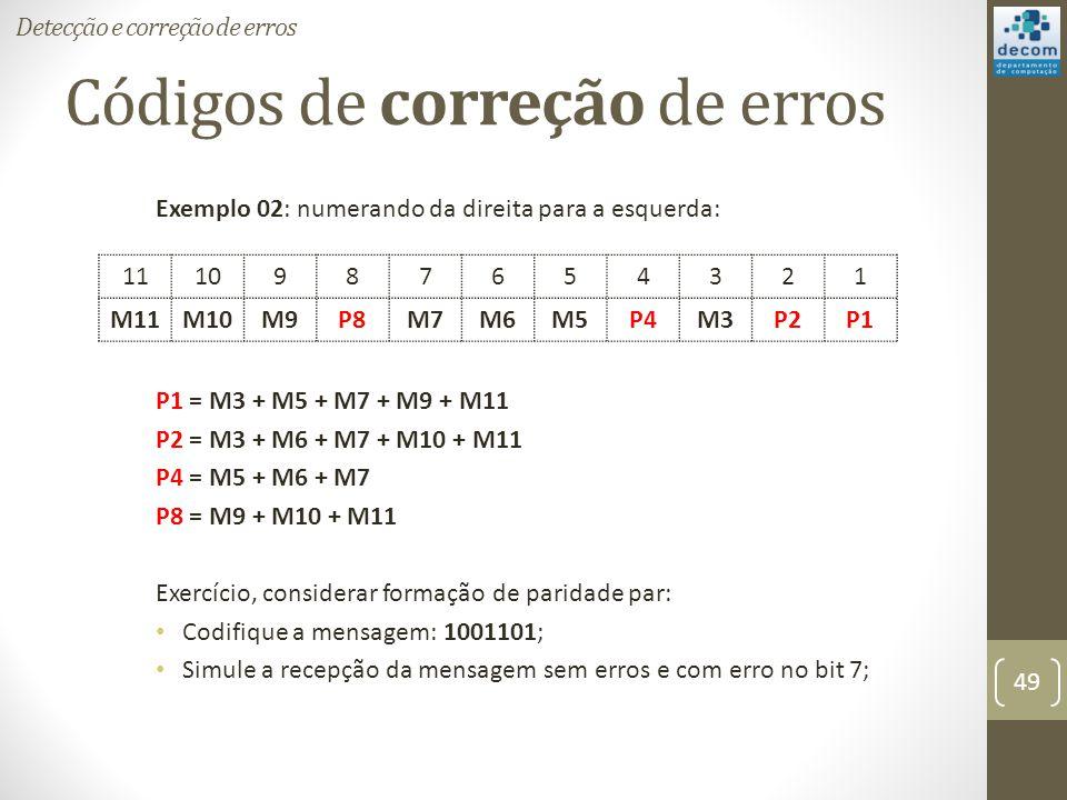 Códigos de correção de erros Exemplo 02: numerando da direita para a esquerda: P1 = M3 + M5 + M7 + M9 + M11 P2 = M3 + M6 + M7 + M10 + M11 P4 = M5 + M6